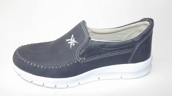 Zapatos De Hombre Mocasin Nautico Cuero Base Liviana