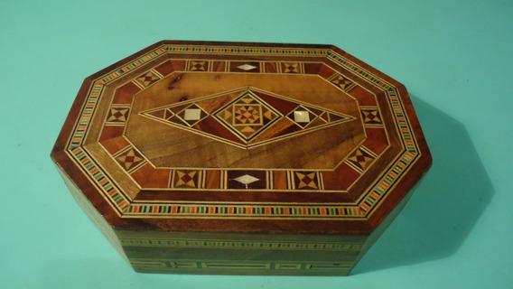 Caixa De Madeira Marroquina Marchetada