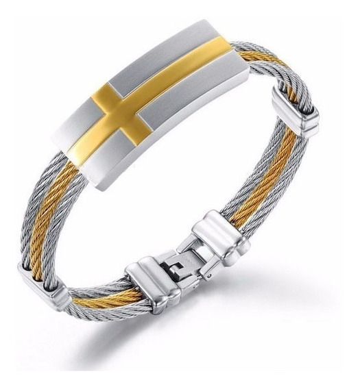 Pulseira Masculina , Bracelete Aço Inox Banhado A Ouro 18k