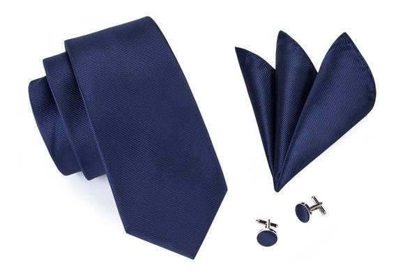 Gravata 100% Seda Especial Azul Marinho Modelo Clássico