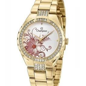 Relógio Analógico Feminino Champion Dourado Strass Cn29543h