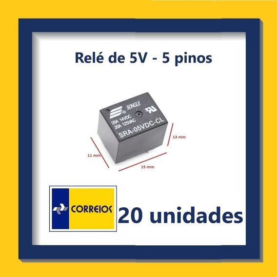 Relé De 5v - 5 Pinos - Kit Com 20 Unidades