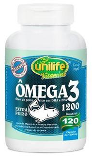 Omega 3 Unilife 120 Cápsulas 1200mg Óleo De Peixe Dha Epa