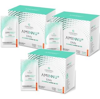 Kit C/3 X Aminnu Eaas 10g, 30 Sachês, Aminoácidos, Tangerina