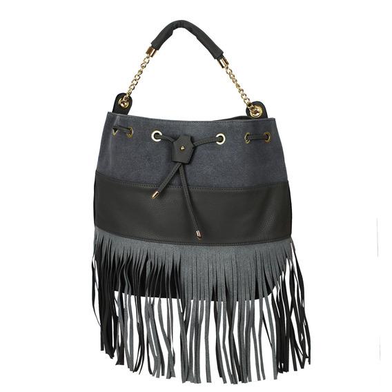 Bolsa Bucket Bag, Cinza Claro Com Franjas Camurça