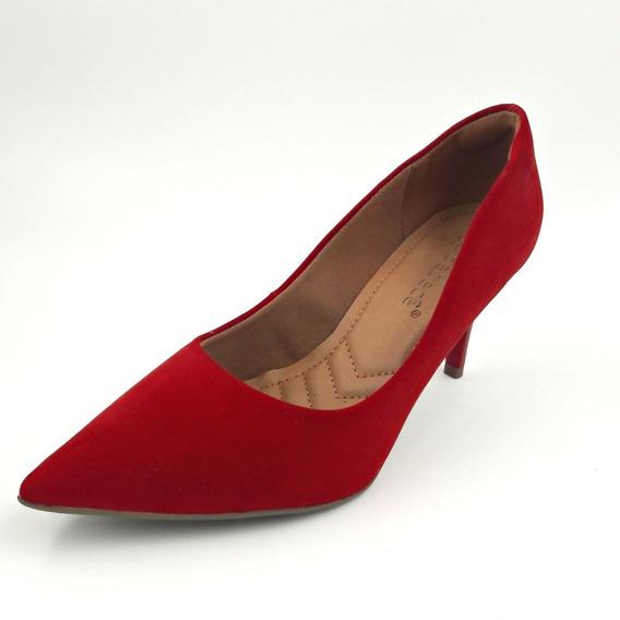 Sapato Scarpin Bebecê Vermelho Nobuck Bico Fino