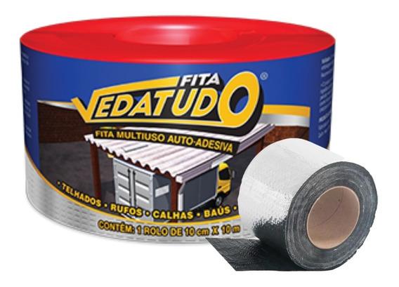 Kit Fita 4 Rolos Impermeabiliza Adesiva Asfáltica 10cmx10mts