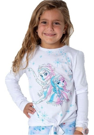 Remera Manga Larga Frozen Princesas Elsa Anna Disney Niña