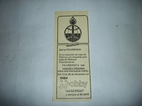 Filumenia ( Fosforos) Volante Antiguo Expo Hobby 1986
