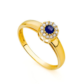 Anel De Formatura De Ouro 18k Safira Com Diamantes An03904 A