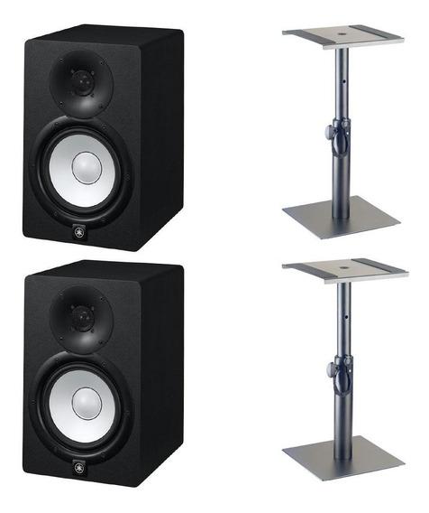 Monitor De Referência Yamaha Hs7 Par + Suporte Mesa Stagg
