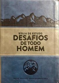 Bíblia Estudo Desafios De Todo Homem Nvt Azul C/indice