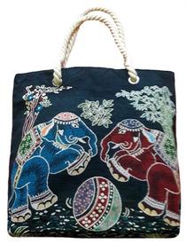 Frete Grátis Bolsa Feminina Lona Azul Elefante Indiano