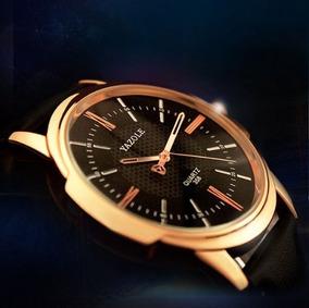 Relógio Yazole Preto Frete Grátis Todo Em Couro Elegante