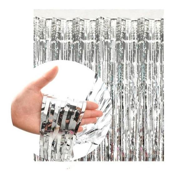 Cortina Plata Metalizada Lluvia Plateada Fondo Cumple Deco