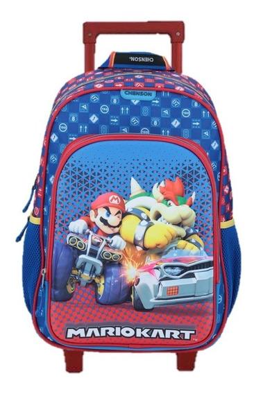 Mochila Mario Bros Kart Primaria Con Carro Chenson Amp323