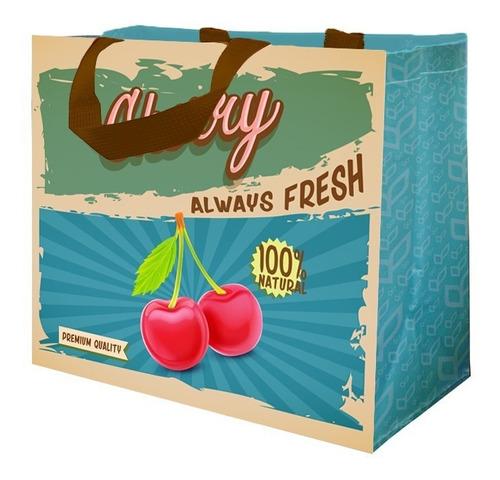Sacola Retornável De Ráfia (ecobag) 100pc Vintage Frutas