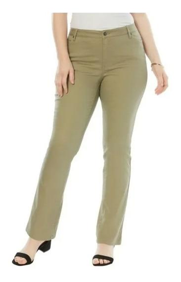 Pantalon Dama Extra 28w Petite Bootcut Stretch Verde Olivo