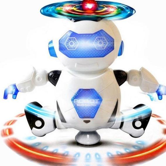 Robô Que Dança Gira Com Luzes Led E Musical - Brinquedo