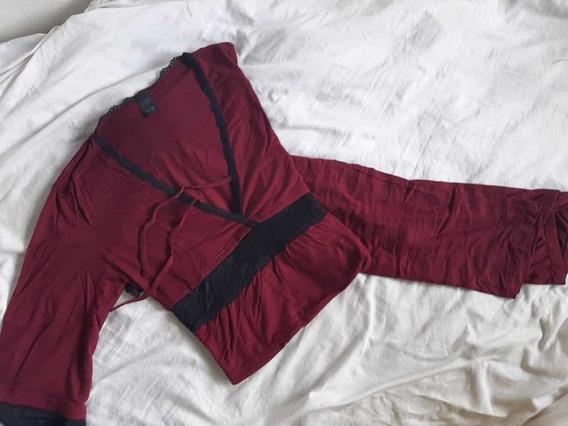 Pijama Remera Y Pantalon De Modal Con Puntilla Marca Mora
