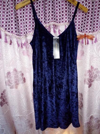 Vestido Azul Terciopelo Cuesta Blanca Talle 42