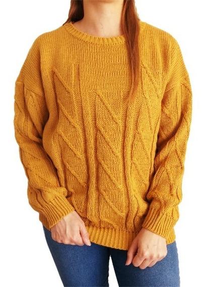 Sweater Mujer Lana Importado Trenzado Cuello Redondo L Xl