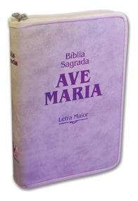 Bíblia Sagrada Com Zíper Rosa Letra Grande Editora Ave Maria