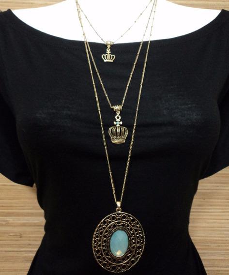 Corrente Tripla Coroas Pedra Azul Gypsy Hippie Chic Indiano