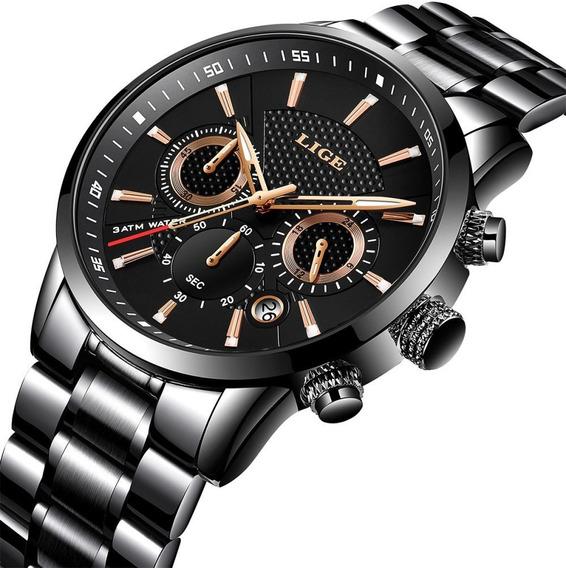 Relógio Masculino Lige Esporte Luxo Completa Steel Business
