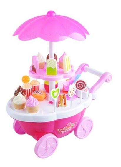 Sorvete Brinquedo Infantil Luz Som Rosa Comidinha Sorveteria