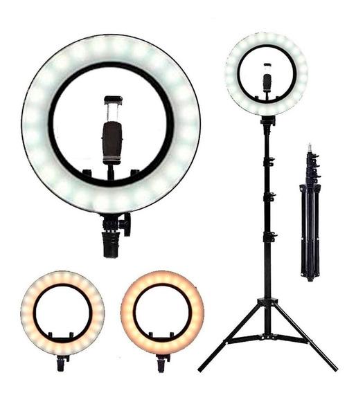 Iluminador Ring Ligth Anel Luz 26cm Tripé 1.60 Led Fotos Mak