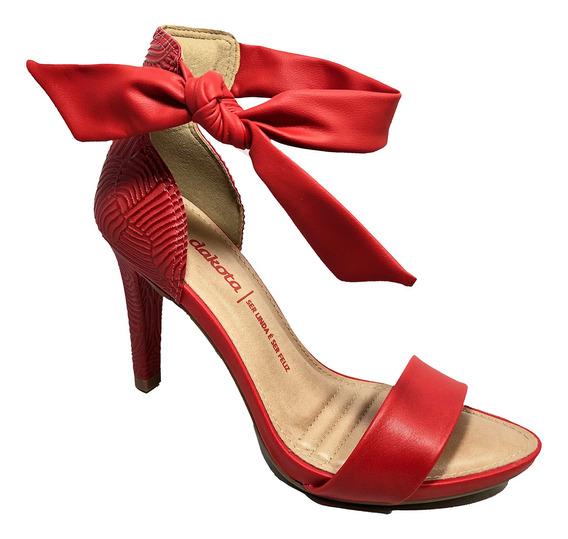 Sandália Dakota Salto Alto De Amarrar Vermelha - Z5632