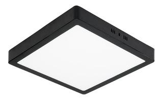 Plafon Led De Techo 24w Aplicar Cuadrado Negro
