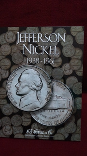 Album Para Monedas Jefferson Nickel 5 Centavos 1938 Al 1961