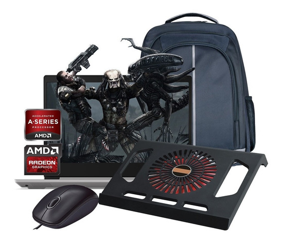 Laptop Lenovo Amd A4 500gb Ram 4gb W10 + Kit 1 Año Garantia