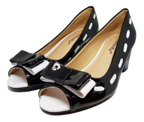 Sapato Peep Toe Laço Salto Baixo 282