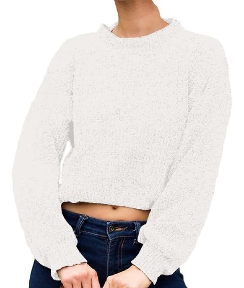 Ns Manga Longa Mock Neck Malha Pulôver Cropped Sweater Tops