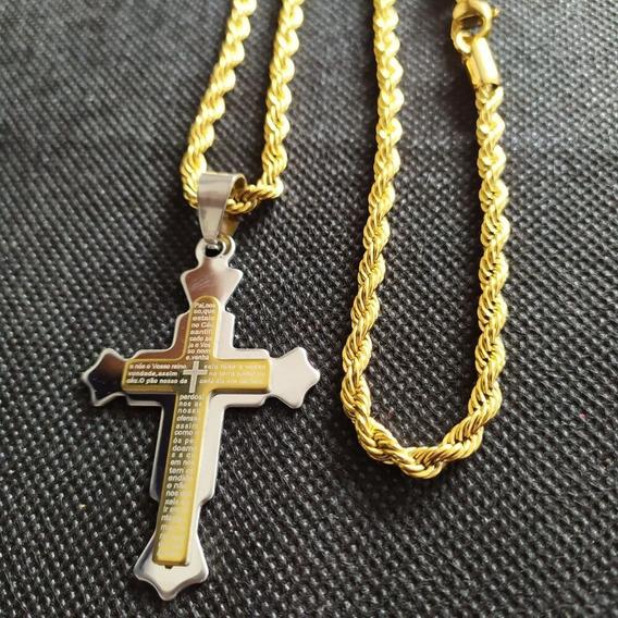 Corrente Masculina Cordão Baiano 60 Cm + Pingente Crucifixo