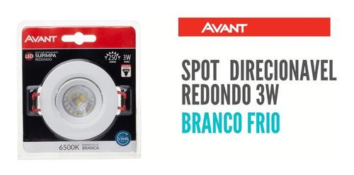 Spot Redondo Direcionavel 3w Avant Branco Frio