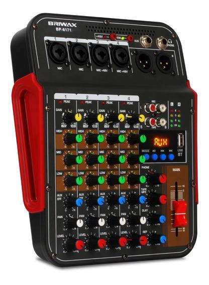 Mesa De Som 4 Canais Bluetooth Efeito Rever Phantom Power 48