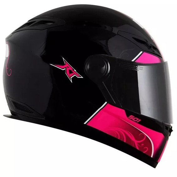 Capacete Race Tech 501 Love Preto E Rosa Pink Fechado
