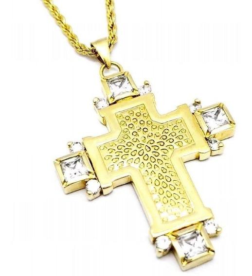 Cordão Trançado 50cm E Cruz De Zirconias Banhados A Ouro 593