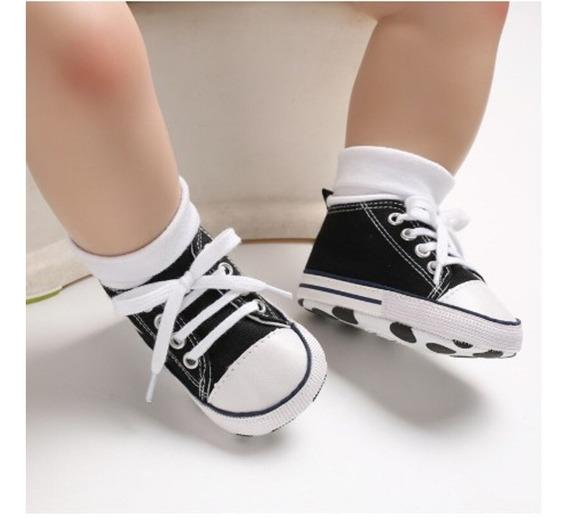 Sapato Infantil Menino Sapatinhos Bebe Tipo All Star Preto
