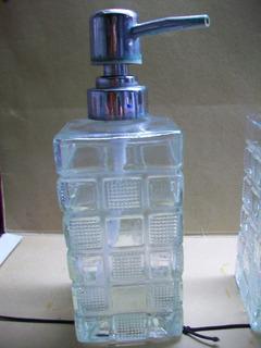 Frasco Dispenser Jabón Líquido De Vidrio Antiguo
