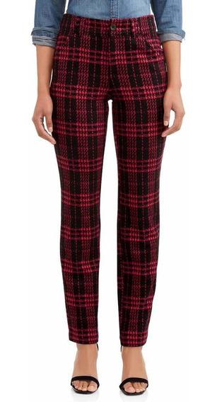 Pantalón Skinny Escocés Rojo Y Negro Talle M Importado Usa
