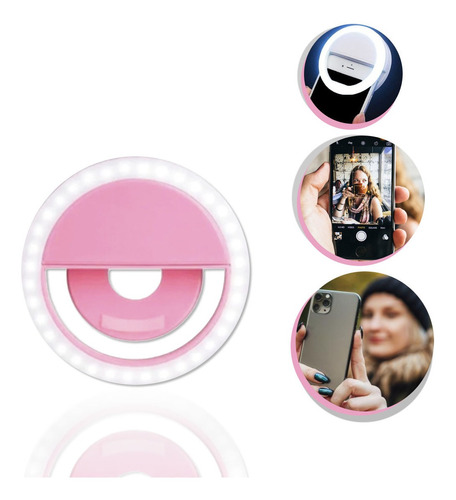 Flash Para Celular Luz Mini Ring Light Clipe Anel Led Rosa