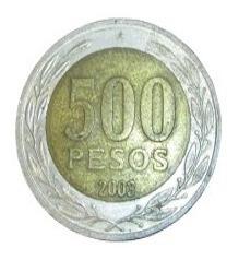 Moneda Chile De 500 Pesos Bimetálica 2001, 2002, 2003