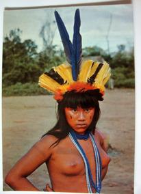 Cartão Postal Antigo Brasil Nativo India Suiá