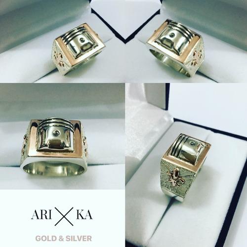 Anillo Pistón Mecánico Plata Y Oro Arika Joyas
