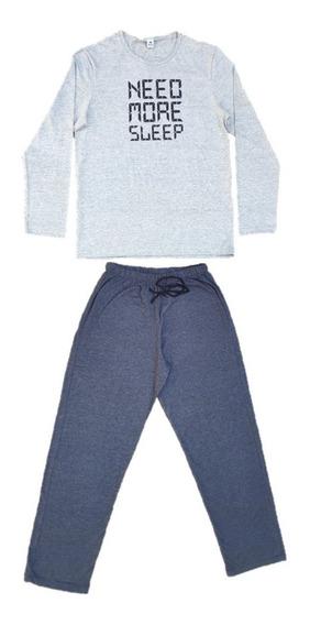 Pijama Masculino Manga Longa Adulto Roupa Dormir Frio